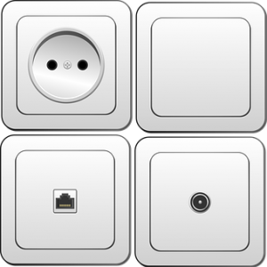 Interruptor, enchufe, antena, telefonia
